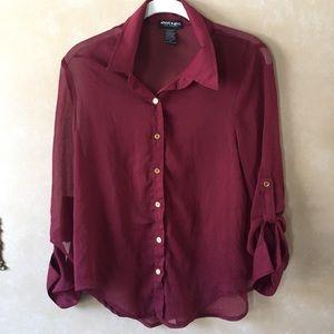 Sheer maroon button down shirt